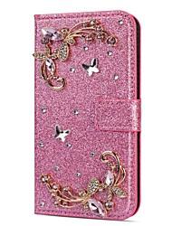 Недорогие -Кейс для Назначение SSamsung Galaxy S9 / S9 Plus / S8 Plus Кошелек / Бумажник для карт / Стразы Чехол Сияние и блеск / Стразы / Цветы Твердый Кожа PU
