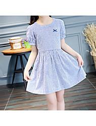 baratos -Infantil Para Meninas Activo / Estilo bonito Sólido / Listrado Laço / Franzido Manga Curta Acima do Joelho Algodão Vestido Azul