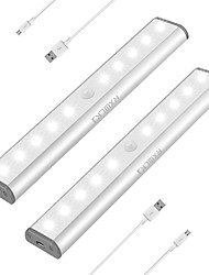 billige -2pcs 1 W 100 lm 10 LED perler Infrarød sensor LED-kabinettlamper Varm hvit Kjølig hvit 5 V