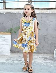Χαμηλού Κόστους -Παιδιά Κοριτσίστικα Γεωμετρικό Στάμπα Πολυεστέρας Φόρεμα Λευκό