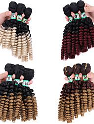 billige -Laflare Nyanse Syntetiske utvidelser Krøllet Syntetisk hår Medium Lengde Hår extension Hår Veve 3 deler Cosplay Justerbar Beste kvalitet Dame Jul Bryllup Halloween