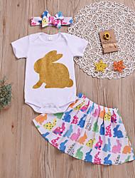 voordelige -Baby Meisjes Actief / Standaard Print Print Korte mouw Normaal Normaal Katoen Kledingset Wit