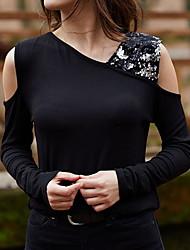 hesapli -Kadın ab / us boyutu ince gömlek - düz renkli v boyun