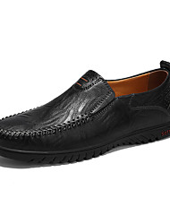 cheap -Men's Leather Shoes Cowhide / Microfiber Spring & Summer / Fall & Winter Loafers & Slip-Ons Black / Yellow / Red