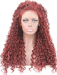 cheap -Synthetic Lace Front Wig Curly Burgundy Free Part Burgundy Synthetic Hair 24 inch Women's Adjustable / Heat Resistant / Party Burgundy Wig Long Lace Front