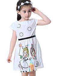 Χαμηλού Κόστους -Παιδιά Κοριτσίστικα Βασικό Κινούμενα σχέδια Στάμπα Κοντομάνικο Πάνω από το Γόνατο Πολυεστέρας Φόρεμα Λευκό