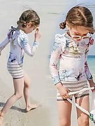 cheap -JIAAO Girls' Rash Guard Dive Skin Suit Thermal / Warm Ultra Light (UL) Wearable Chinlon Long Sleeve Swimwear Beach Wear Swimwear Solid Colored 3-Piece Swimming / High Elasticity