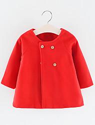 billige -Baby Pige Basale Ensfarvet Normal Polyester Trenchcoat Sort