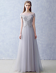 cheap -A-Line Illusion Neck Floor Length Tulle Bridesmaid Dress with Appliques by LAN TING Express