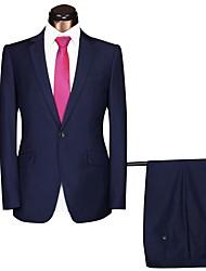abordables -Gris / Bleu marine / Noir Couleur Pleine Coupe Standard Polyster Costume - Cranté Droit 1 bouton