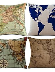 رخيصةأون -4.0 جهاز كمبيوتر شخصى قطن / كتان غطاء وسادة, بحري خريطة كلاسيكي أنتيك الطراز الأوروبي