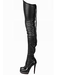 Недорогие -Жен. Полиуретан Наступила зима Ботинки На шпильке Круглый носок Бедро высокие сапоги Ленты Черный