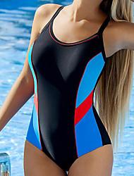 cheap -Women's Basic Blue Black One-piece Swimwear - Animal Print M L XL Blue