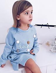 Χαμηλού Κόστους -Παιδιά Κοριτσίστικα Βασικό Μονόχρωμο Μακρυμάνικο Ως το Γόνατο Φόρεμα Ανθισμένο Ροζ