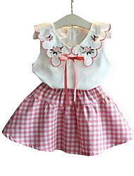 זול -סט של בגדים ללא שרוולים משובץ בנות ילדים