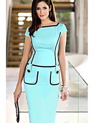 Недорогие -Жен. Элегантный стиль Облегающий силуэт Платье - Однотонный, Пэчворк До колена