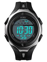 Недорогие -SKMEI Муж. Спортивные часы Армейские часы Цифровой силиконовый Черный 50 m Будильник Календарь Секундомер Цифровой На каждый день Мода - Черный Один год Срок службы батареи / Нержавеющая сталь