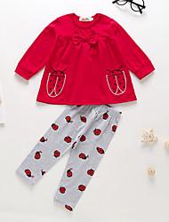 preiswerte -Baby Mädchen Freizeit / Grundlegend Druck Schleife / Druck Langarm Standard Baumwolle Kleidungs Set Rote
