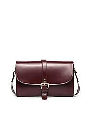 hesapli -Kadın's Çantalar Sığır Derisi Omuz çantası Fermuar için Günlük Bahar Siyah / Şarap