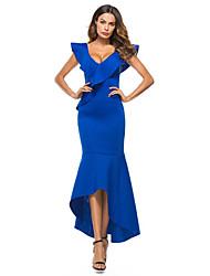 رخيصةأون -المرأة غير المتكافئة bodycon اللباس الخامس الرقبة القطن الأبيض الأزرق ق م م xl