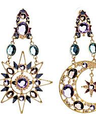 ราคาถูก -สำหรับผู้หญิง ที่ไม่ตรงกัน Mismatch Earrings เลียนแบบเพชร ต่างหู MOON Star Stylish เครื่องประดับ สีทอง สำหรับ ทุกวัน 1 คู่