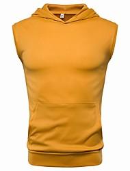 お買い得  -男性用 Tシャツ フード付き ソリッド コットン グレー XL