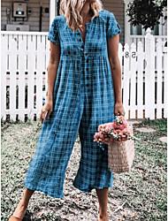 ราคาถูก -สำหรับผู้หญิง Street Chic ใบไม้สีเขียวที่มีสามแฉก สีน้ำเงินกรมท่า สีม่วง ชุด Jumpsuits, ลายสก็อต XL XXL XXXL