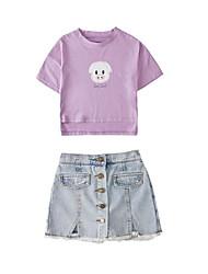 baratos -Infantil Para Meninas Básico / Moda de Rua Estampado Multi Camadas / Estampado Manga Curta Algodão / Poliéster Conjunto Branco