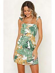 رخيصةأون -فستان نسائي A line عتيق أساسي طباعة فوق الركبة ورد