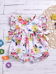 hesapli -Bebek Genç Kız Temel Desen Desen Kolsuz Pamuklu / Polyester Tek Parça Beyaz