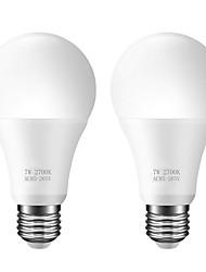 Недорогие -ZDM 2шт A60 датчик света лампы светодиодные интеллектуальное освещение 7 Вт E26 / E27 автоматически включить / выключить AC85-265V