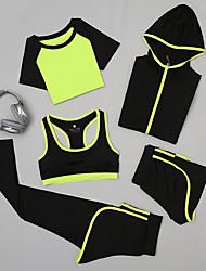 Недорогие -Жен. Костюм для йоги 5 шт. Сплошной цвет Йога Фитнес Шорты Бельё Велоспорт Колготки Спортивная одежда Дышащий Быстровысыхающий Впитывает пот и влагу Для тренировки Power Flex