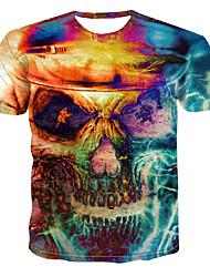 billiga -Tryck, Färgblock / 3D / Dödskalle T-shirt Herr Gul XXXXL