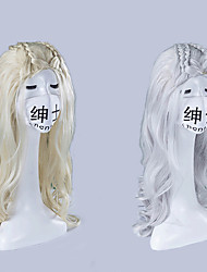 cheap -Synthetic Wig Body Wave Jolie Style Braid Capless Wig Silver Blonde Sliver White Synthetic Hair 24INCH Women's Odor Free / Adjustable / Heat Resistant Silver / Blonde Wig Long Cosplay Wig