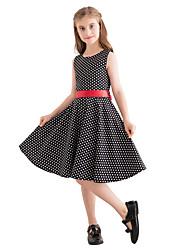 hesapli -Çocuklar Genç Kız Vintage / sevimli Stil Yuvarlak Noktalı Desen Kolsuz Diz-boyu Pamuklu Elbise Siyah