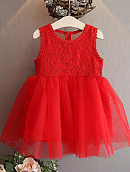 お買い得  -子供 女の子 かわいいスタイル ストリートファッション ソリッド パッチワーク レース リボン メッシュ ノースリーブ レーヨン ポリエステル ドレス ホワイト