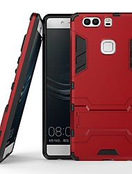 cheap -Case For Huawei P9 Shockproof / with Stand Back Cover Solid Colored / Armor Hard PC for Huawei P9 Plus