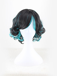 cheap -Synthetic Wig Bouncy Curl Style Middle Part Capless Wig Green Black / Dark Green Synthetic Hair 12 inch Women's Color Gradient Green Wig Short Natural Wigs