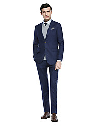 お買い得  -ディープブルー / ダークグレー / ダークネービー ソリッド スタンダードフィット ウール混 スーツ - ピークドラペル シングルブレスト 二つボタン