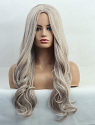 Χαμηλού Κόστους -Αξεσουάρ Στολών / Συνθετικές Περούκες Κυματομορφή Σώματος / Φυσικό Κυματιστό Στυλ Μέσο μέρος Χωρίς κάλυμμα Περούκα Χρυσό Ανοικτό Χρυσαφί Συνθετικά μαλλιά 24 inch Γυναικεία / Φυσική γραμμή των μαλλιών