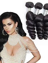 hesapli -3 Paket Moğol Saçı Gevşek Dalgalar İşlenmemiş Gerçek Saç İnsan saç örgüleri Paketi Saç Gerçek Saç Postişleri 8-28 inç Doğal Renk İnsan saç örgüleri Sevgili Parti Yeni gelen İnsan Saç Uzantıları