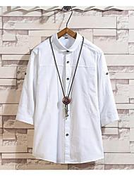 お買い得  -男性用 Tシャツ ソリッド ネイビーブルー XXXL