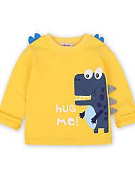 tanie -Dzieci / Brzdąc Dla chłopców Aktywny / Podstawowy Solidne kolory / Nadruk Nadruk Długi rękaw Bawełna / Spandeks T-shirt Żółty