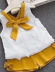 hesapli -Bebek Genç Kız Sokak Şıklığı Solid Kolsuz Normal Polyester Kıyafet Seti Doğal Pembe