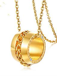 Недорогие -Жен. Ожерелья с подвесками Классический Числа Мода Нержавеющая сталь Золотой 45 cm Ожерелье Бижутерия 1шт Назначение Подарок Повседневные