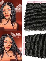 tanie -6 pakietów Włosy brazylijskie Deep Wave Włosy naturalne Nieprzetworzone włosy naturalne Nakrycie głowy Fale w naturalnym kolorze Doczepy 8-28 in Kolor naturalny Ludzkie włosy wyplata Miękka Najwyższa