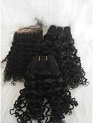 halpa -Letitetty Kihara Kudotut Aidot hiukset 3 osainen punokset Musta 12 tuumaa Naisten / extention Deitti / Katu Brasilialainen
