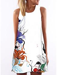 Недорогие -Жен. Элегантный стиль А-силуэт Платье - Цветочный принт Выше колена