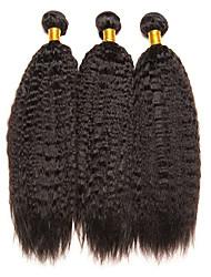 economico -3 pacchetti Brasiliano Yaki liscia Non trattati Capelli Ciocche a onde capelli veri Estensore Bundle di capelli 8-28 pollice Colore Naturale Tessiture capelli umani Soffice Classico Adorabile