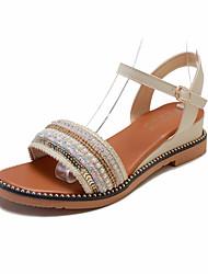 povoljno -Žene PU Ljeto Ležerne prilike Sandale Wedge Heel Umjetni biser Crn / Bež